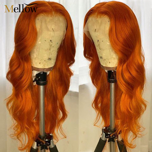 Brazilian Body Wave Lace Front Human Hair Wigs Pre Plucked with Baby Hair Full End Orange Ginger Lace Front Human Hair Wigs(China)