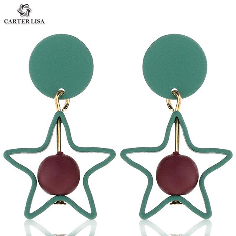 CARTER LISA Women Fashion Simple Gemotric Pentagram Square Round Ball Drop Dangle Earrings For 2019 Femme Jewelry Gifts Kolczyki