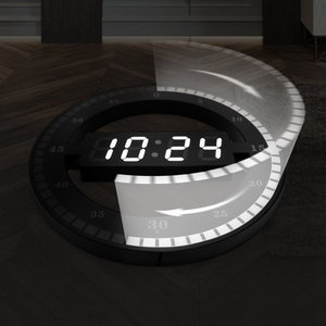 Image 4 - Relógio eletrônico 3d oco led digital ajuste automático brilho redondo casa relógio de parede com plugue dos eua plástico preto