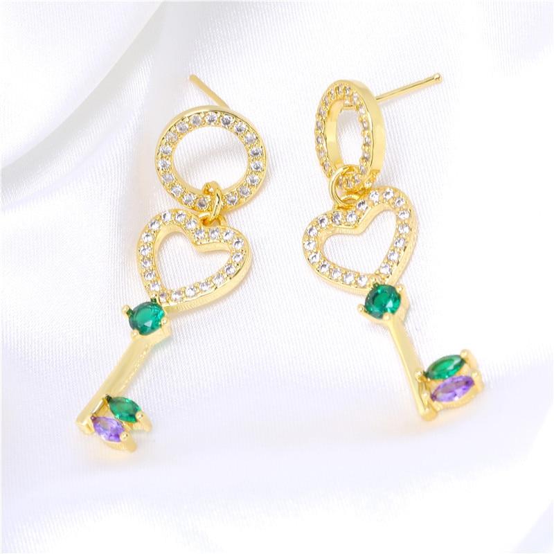 Hot selling Earrings copper micro inlaid zircon key Earrings European and American fashion earrings female