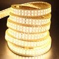5730 светодиодный полосы 220 В 110 EU/US/UK Водонепроницаемый теплый белый/белый 240 светодиодный s/m Двухрядные гибкая лента светодиодный свет