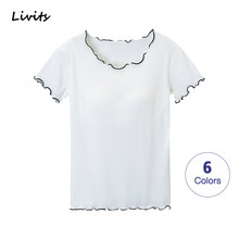Women T-Shirts Built-in Bra Padded Stretchable Tops Tshirts Short Sleeve Ruffles Sexy Casual Korean SA0694