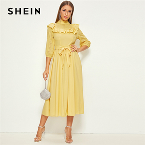 Image 5 - SHEIN Mock neck Ruffle Trim Self Belted Dress Women Spring Autumn Long Dress Fit and Flare A Line Elegant Empire Dresses