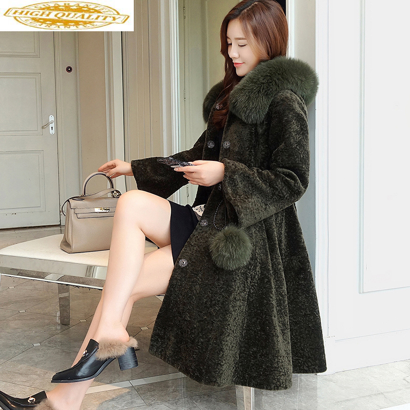 Real Sheep Shearling Fur Coat 2020 Winter Jacket Women Fox Fur Collar 100% Wool Coat Female Korean Long Coats MY3764