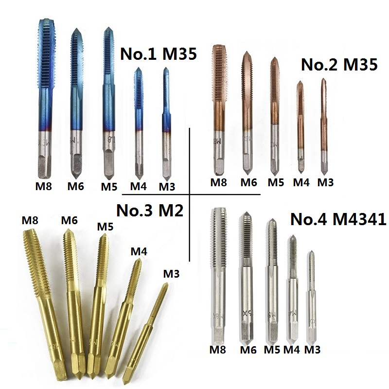 XCAN 5pcs Coating HSS M3 M4 M5 M6 M8 Metric Tap Set Screw Thead Tap Drill Bit Straight Flute Machine Tap