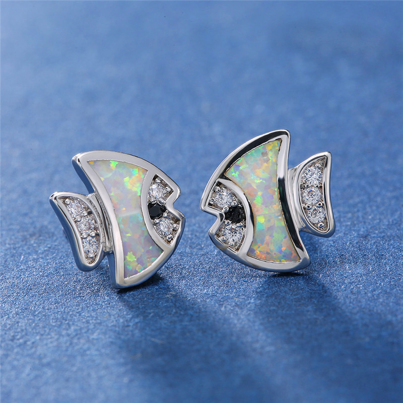 White/Blue Fire Opal Fish Stud Earrings For Women White Gold Birthstone Jewelry Female Cute Animal Vintage Fashion Earrings Gift