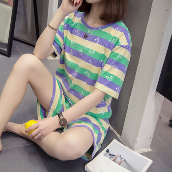 Fashion Pyjama Women Set Summer Short Home Clothes Female Thin Casual Striped Pajamas Girl Plus Size XL-4XL