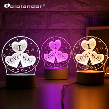 New I LOVE YOU 3D Lamp Creative 3 Colors Night Lights Novelty Illusion Night Lamp Illusion Table Lamp For Home Decorative Light cheap Sololandor Round AYG02-NN-504 None LED Bulbs Switch HOLIDAY 0-5W Santa 3D Lamp 3 colors change in 1 lamp Contact us for more details