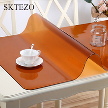 SKTEZO 1. 6mm High Quality Black Brown Rounded Edge PVC Frosted Soft Glass Tablecloth Anti-scalding Waterproof Coffee Tablecloth