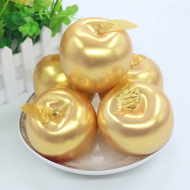 1pc Artificial Fruit Gold/Silver Apple Ornament Simulation Food Model For Diy Crafts Photography Props Golden Vegetables