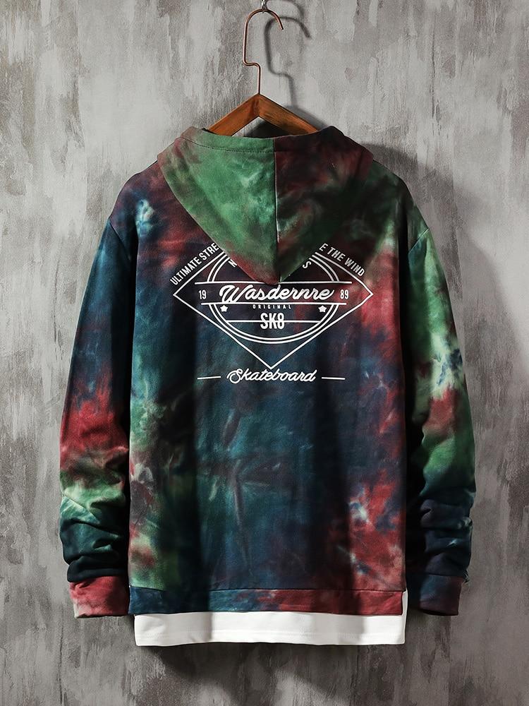 Black Hoodie Sweatshirt Tie-Dye Oversized Japanese Streetwear Hip-Hop Harajuku Singleroad