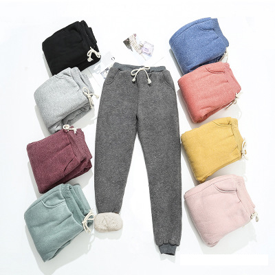 BEFORW 2019 Autumn Winter Women Fleece Sweatpants Trousers Casual Thick Velvet Loose Cashmere Sweatpants Tracksuit Pants
