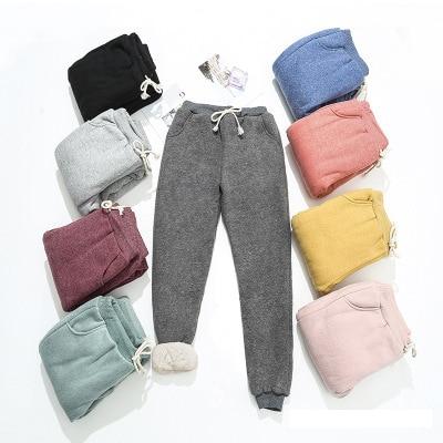 BEFORW 2019 Autumn Winter Women Fleece Sweatpants Trousers Casual Thick Velvet Loose Cashmere Sweatpants Tracksuit Pants