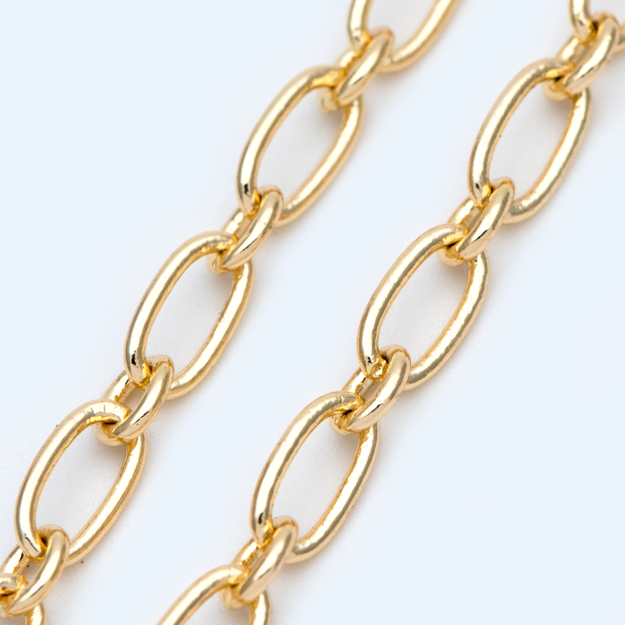 Gold Plated Brass Oval Cable Chains 4.7mm, Figaro Chain Supplies Wholesale (#LK-329)/ 1 Meter=3.3 Ft