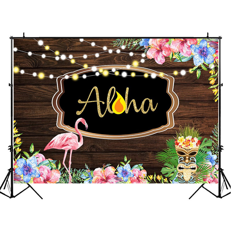 NeoBack Wood Flamingo Birthday Backdrop Summer Tropics ALOHA Photography Backdrops Pink Blue Flowers Background Photography in Background from Consumer Electronics