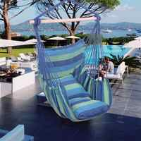 Distinctive Cotton Canvas Hanging Rope Chair with Pillows Hammock Stand Chair Swing Swinging Furniture