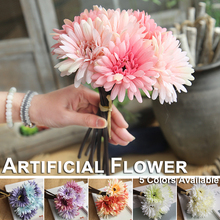 1/5/10Pcs Gerbera Artificial flowers Fake Pink/Blue/Purple/Green/White Interior decoration Holiday Gift 1Pcs/6Head D40