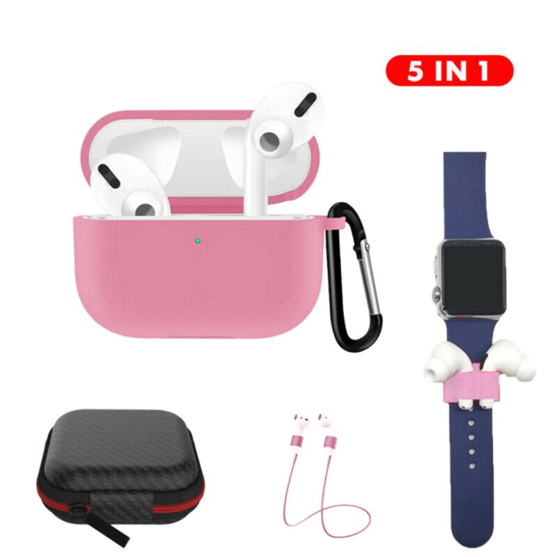 <font><b>5</b></font> <font><b>in</b></font> <font><b>1</b></font> for <font><b>Airpods</b></font> Accessories Set Earphone Protective <font><b>Case</b></font> with Clip Holder+Keychain+Strap image