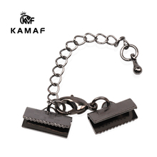 KAMAF 10PCS/PACK Jewelry Bracelet Necklace Rectangular Lobster Clasp with Long Tail Chain Leather Cord Buckle Clip