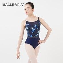 Balerin bale dans uygulama leotard kadınlar dans kostümü jimnastik baskı Sling örgü koyu mavi mayoları 5081