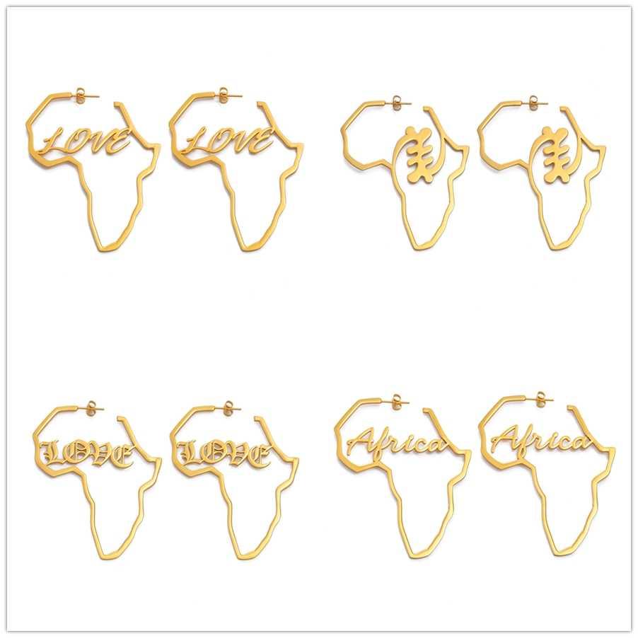 Anniyo แอฟริกันสัญลักษณ์ต่างหูทองสีสแตนเลส Adinkra Nyame ต่างหูชาติพันธุ์เครื่องประดับขนาดใหญ่ Love ของขวัญ #131121
