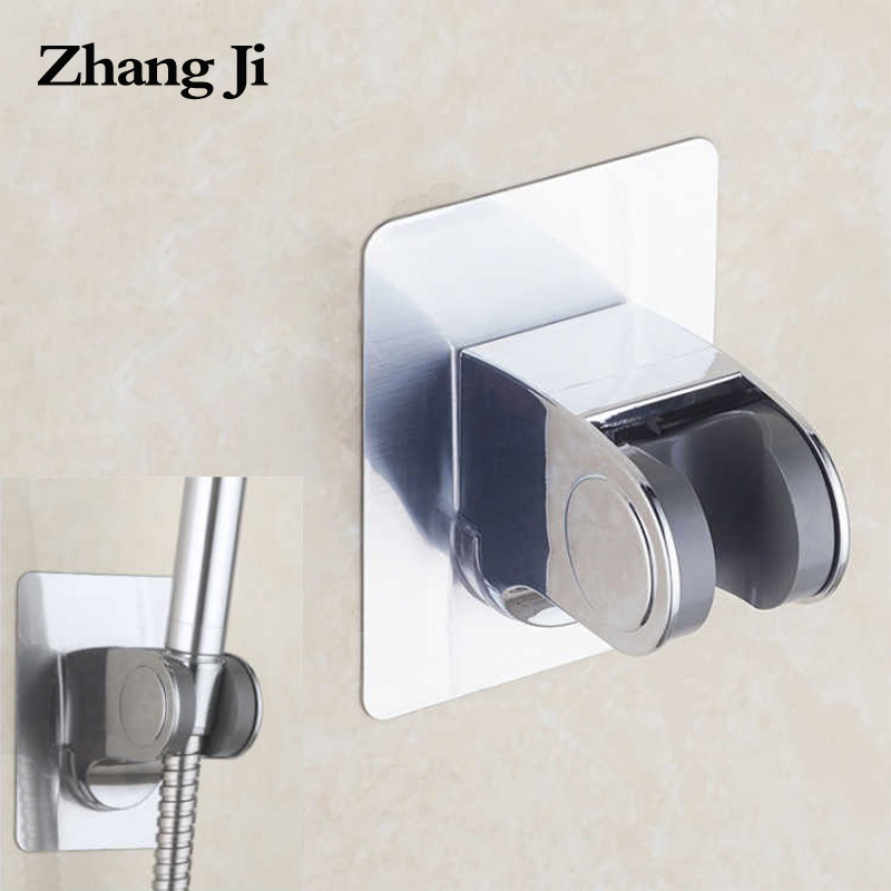 ZhangJi Traceless Shower Holder Angle Adjustable Self-adhesive Shower Head Base Waterroof Durable Shower Holder No Drill