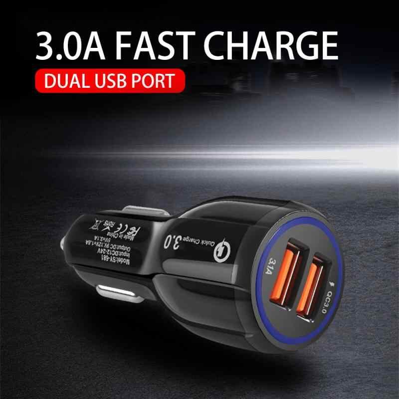 Novo carregador de carro porta dupla qc3.0 qualcomm carga rápida 39 w carregador de carro dupla usb carga rápida 6a para tablets móveis dropshipping