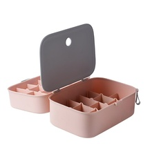 Double Storage Box Can Be Superimposed Grid Plastic Box Household Goods Box Travel Underwear Wardrobe Socks Storage