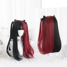 Shangke preto vermelho loira branco sintético lolita perucas para mulher longa peruca reta com franja genshin impacto cosplay peruca