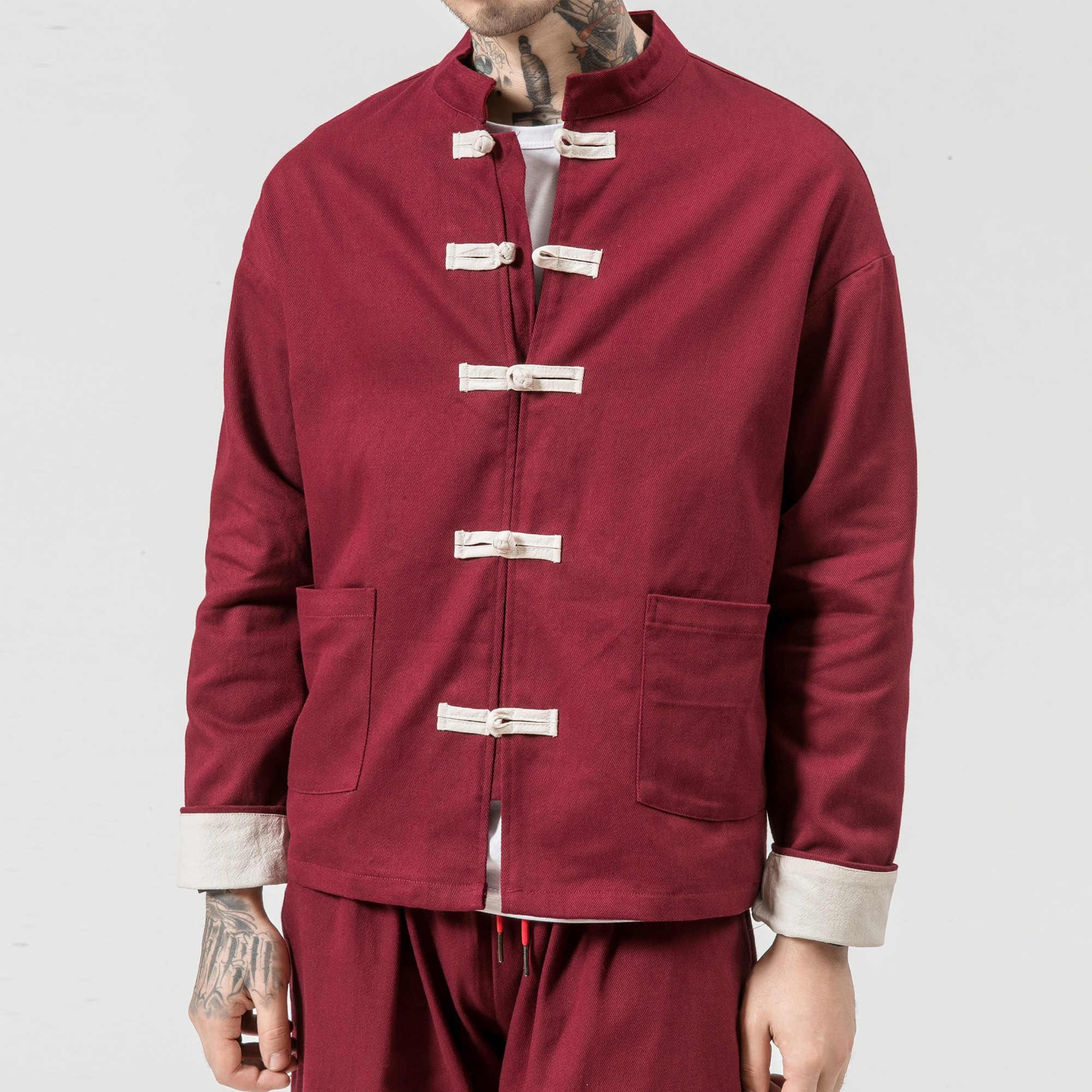 Kimono Jas Mannen 2019 Mannen Katoenen Jas China Stijl Kikker Sluiting Knop Kongfu Jas Mannelijke Losse Parchwork Vest Overjas 5XL