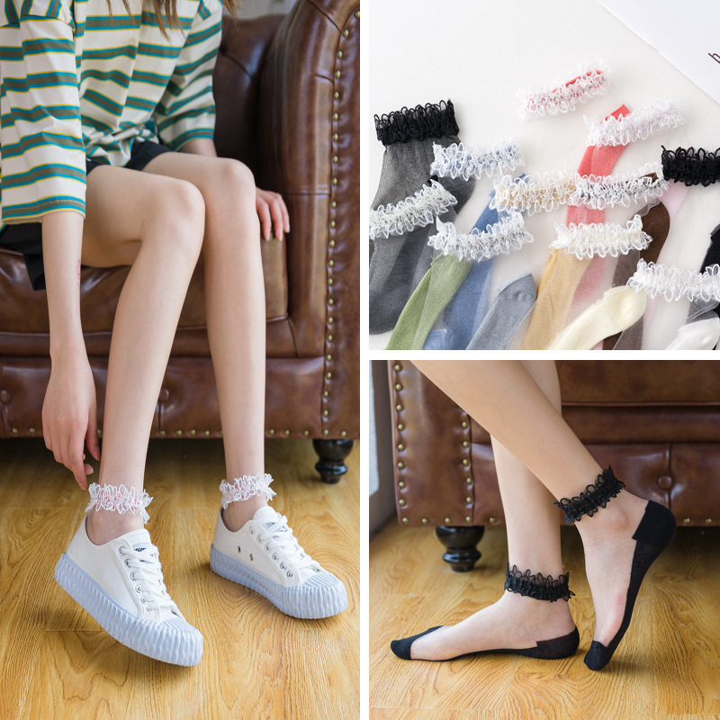 1 Pair Women Socks Summer New Flower Lace Ankle Socks Palace Style Thin Transparent Socks Solid Cute Socks