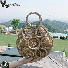Seaside holiday bag hollow straw bag large capacity ins beach Crossbody bag 2020 summer hand weaving female Shoulder bag(China)