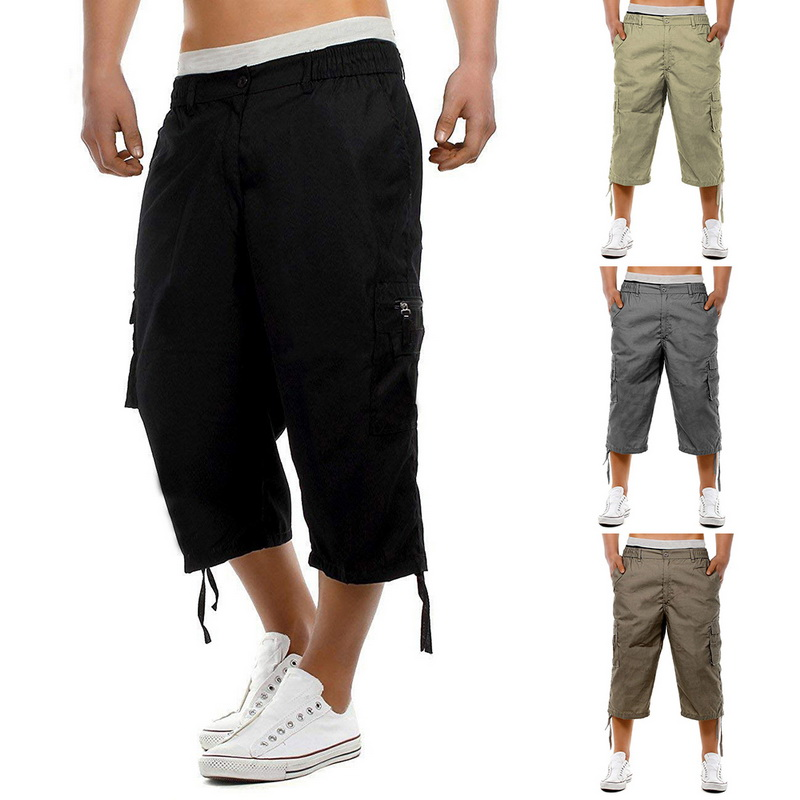 Men Joggers Shorts Summer 2019 Mens Multi-pocket Military Shorts Male Streetwear Overalls Short Pant Black