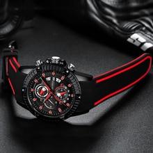 Mężczyźni silikonowy zegarek moda Sport zegar kwarcowy męskie zegarki Top marka biznes wodoodporny chronograf Relogio Masculino