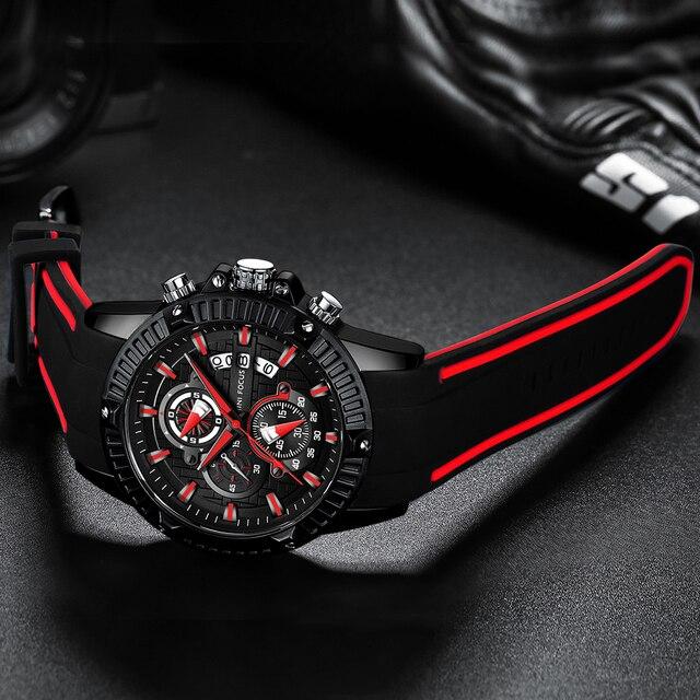 Men Silicone Watch Fashion Sport Quartz Clock Mens Watches Top Brand Business Waterproof Chronograph Watch Relogio Masculino
