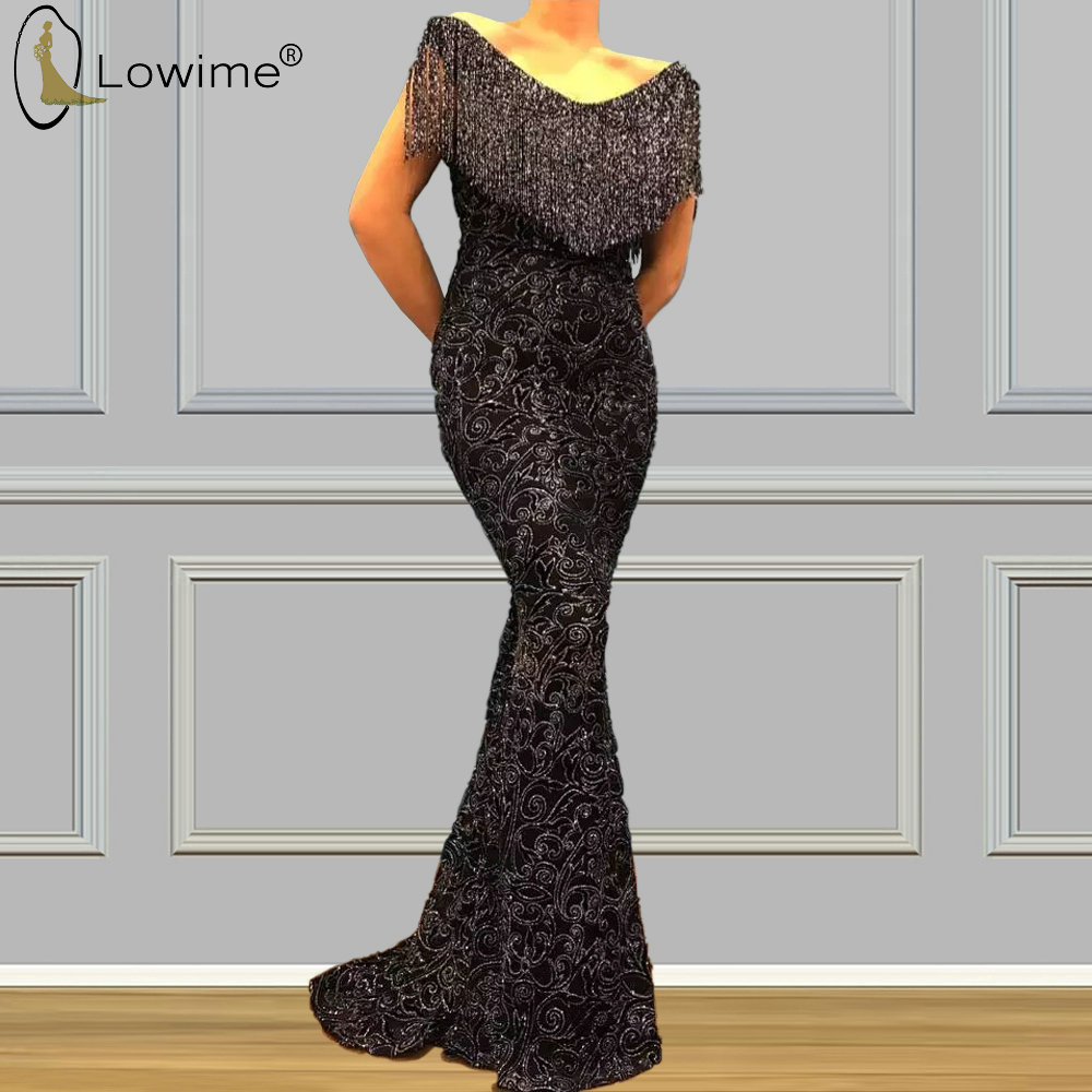 Vestido De Noite Black Mermaid Evening Dresses Tassel V Neck Floor Length Robes Prom Party Gowns Couture