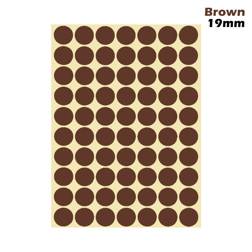 1 лист 10 мм/19 мм цветные наклейки в горошек круглые круги точки бумажные клеящиеся этикетки офисные школьные принадлежности - Цвет: brown 19mm