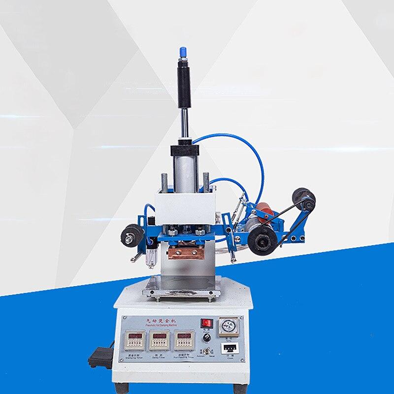 Pneumatyczna maszyna stemplująca gorącą folią prasa do skóry drewno papier Branding CustomLogo znakowanie maszyna do tłoczenia skóry