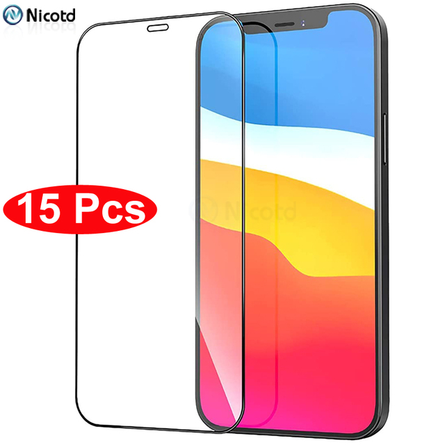 15Pcs/Lot Full Cover Tempered Glass For iPhone 12 Pro Max Screen Protector For iPhone X XS Max Xr 6 7 8 Plus 11 Pro Max 12 mini