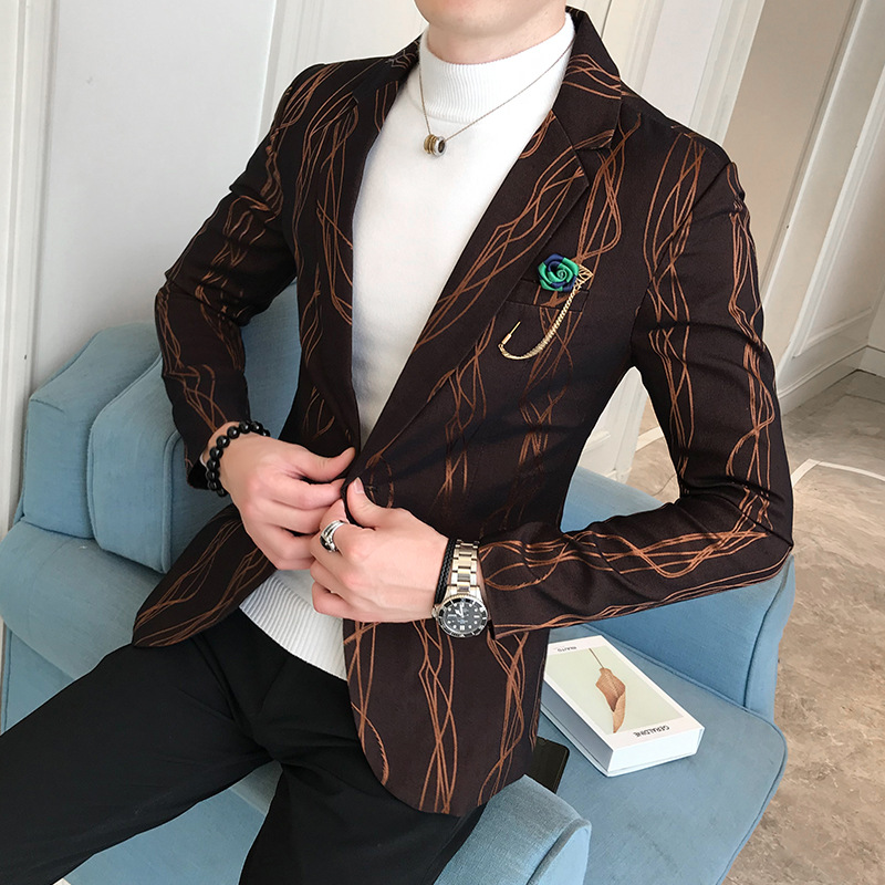 Fall 2019 New Printed Suit Men's Cultivate One's Morality Fashion Handsome Suit Young Fashion Suits