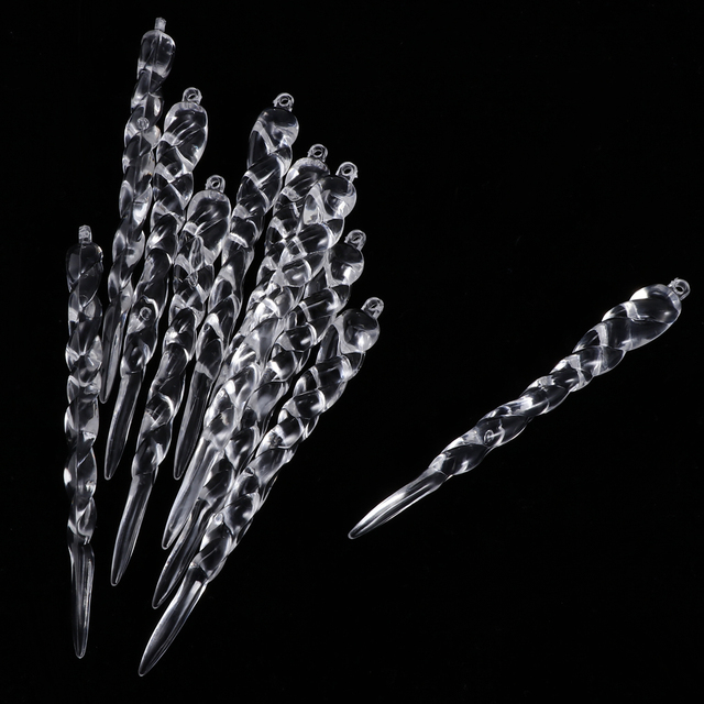 10Pcs Twisted Clear Crystal Icicles Christmas Tree Hanging Decoration Chandelier Tree Crystal Pendant Ornaments Garland