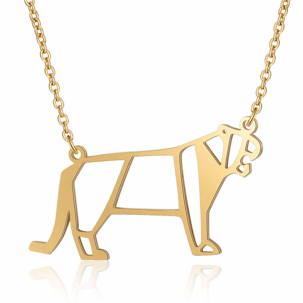 100% Real Stainless Steel Hollow Tiger Necklace Italy Design Fashion Animal Pendant Necklaces Super Quality