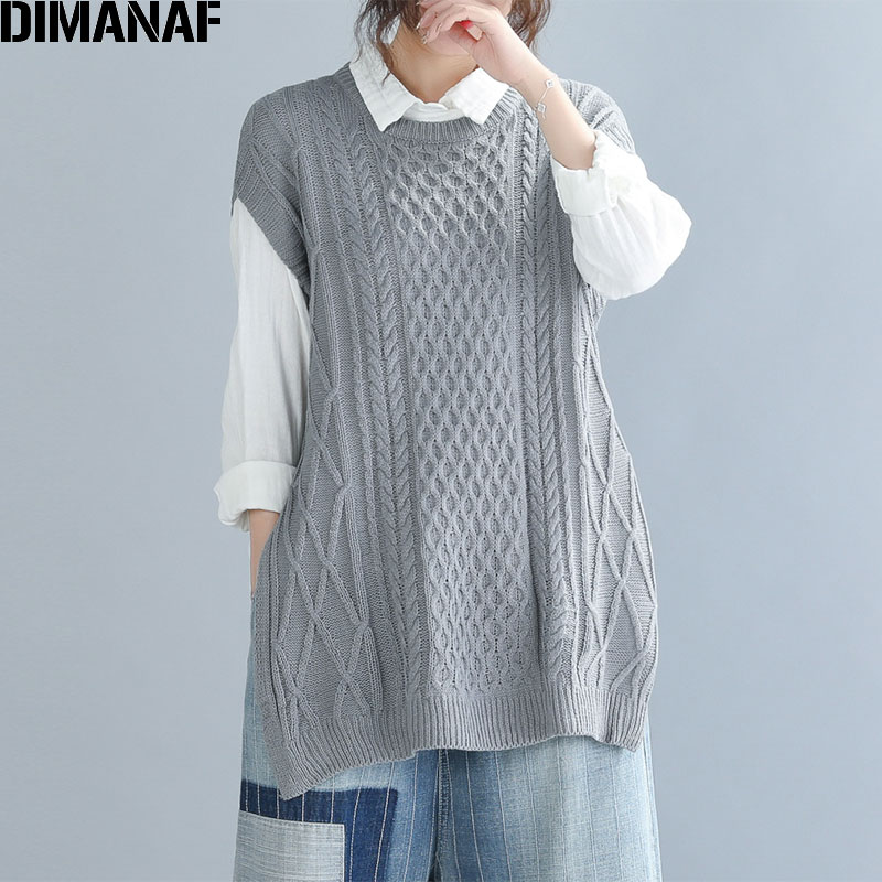 DIMANAF Autumn Plus Size Sweater Women Sleeveless Knitting Vest Pullovers Cotton Loose Lady Tops Large Size Outerwear Clothing