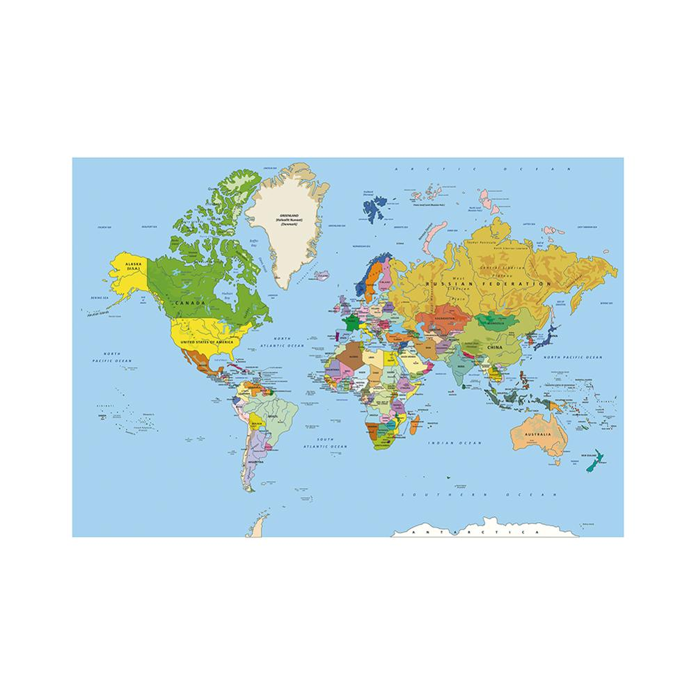 150x100cm World Physical Map Non-woven World Map Without National Flags For Culture And Education