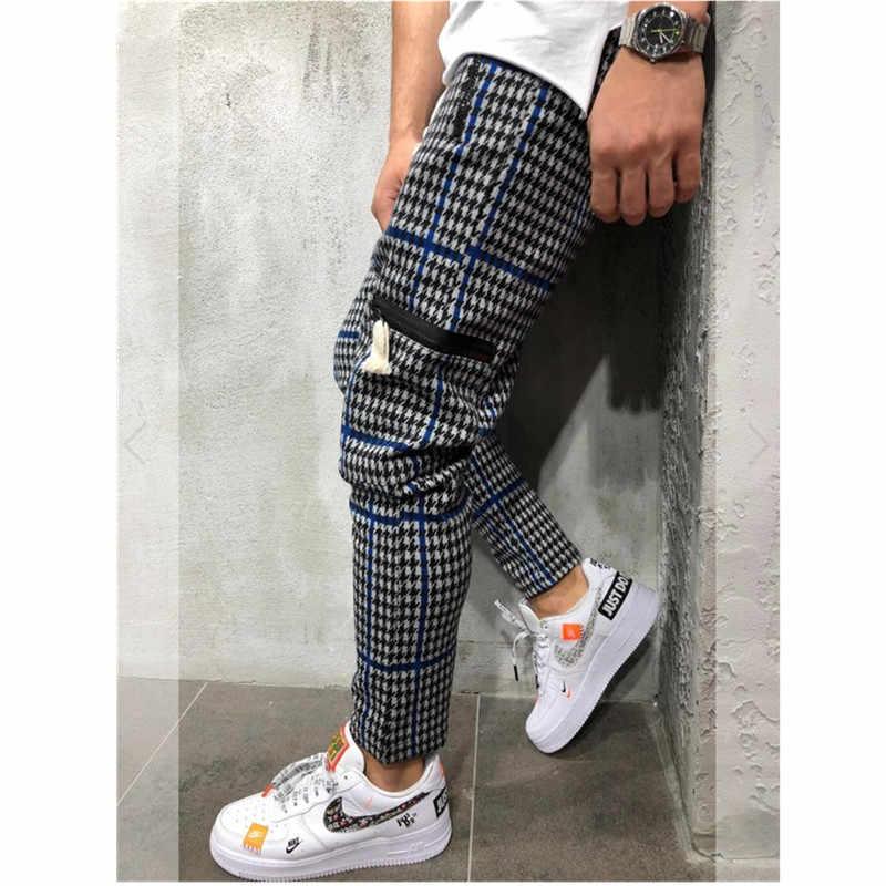 カジュアルチェック柄アンクル丈パンツ男性ズボンヒップホップジョガーパンツの男性スウェットパンツ日本ストリート男性パンツ 2019 ne
