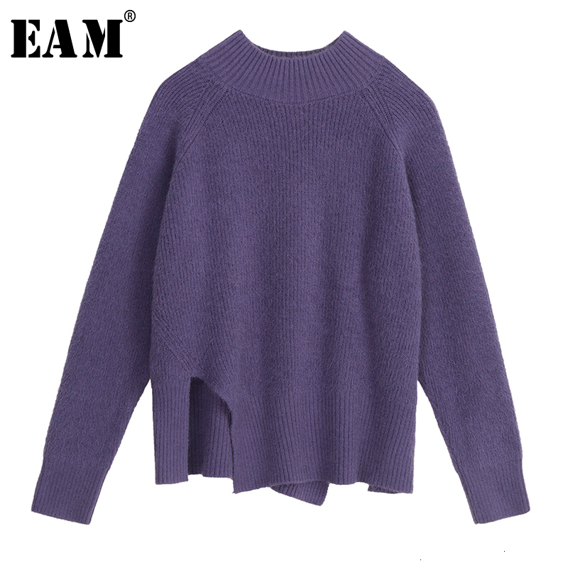 [EAM] Vent Big Size Knitting Sweater Loose Fit Round Neck Long Sleeve Women Pullovers New Fashion Tide Autumn Winter 2020 1M054