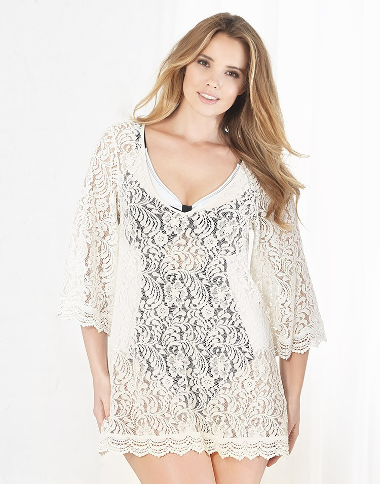 Europe And America Full Lace Embroidered Band Lace Three-quarter-length Sleeve Beach Skirt Sexy Loose And Plus-sized Holiday Ski