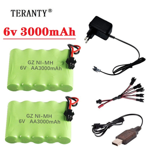 Upgrade 6v 3000mah NiMH Battery Charger sets For Rc Toys Cars Tank Truck Robots Guns Boats AA Ni-MH 6v Rechargeable Battery Pack(China)