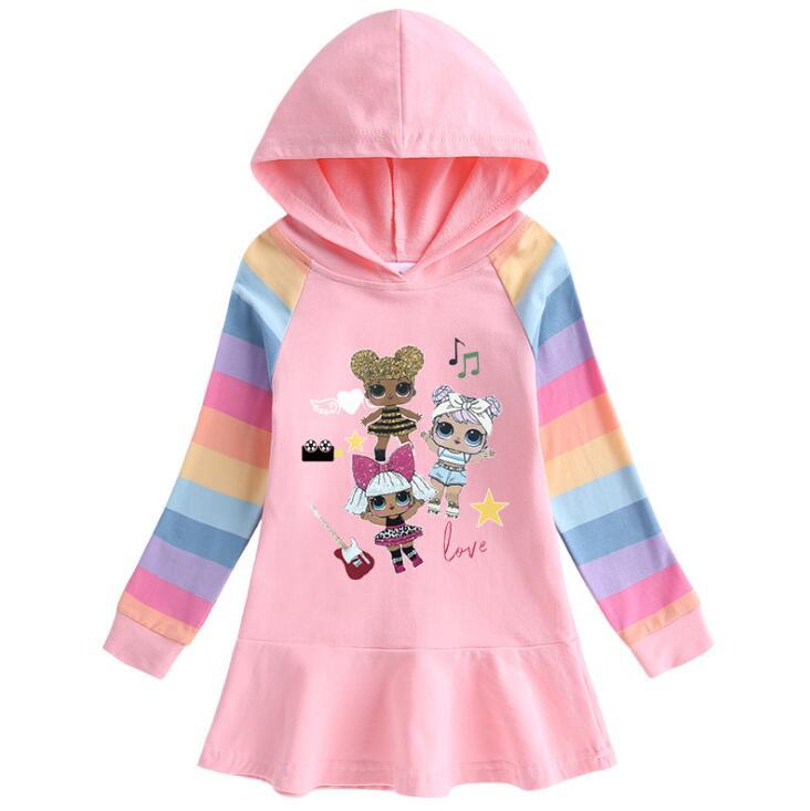 Surprise LOL Doll new autumn cotton girl dress cartoon rainbow children's long-sleeved hoodie dress