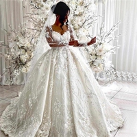 Dubai 2020 Vintage Ball Gown Wedding Dresses 3D Flowers Long Sleeve Applique Court Train Bridal Gowns Custom Made Wedding Gown